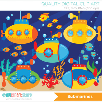 Clipart - Under the sea  / Submarine / U-boat / Surf / Dee