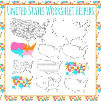 United States Worksheet Helper Clip Art Pack for Commercial Use