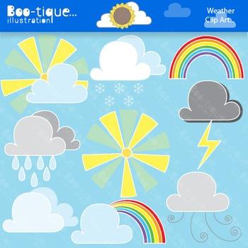 Clipart- Weather Digital Clipart Set. Weather Clip Art. Su