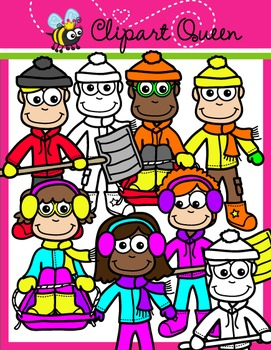 Winter Clipart: Kids 2