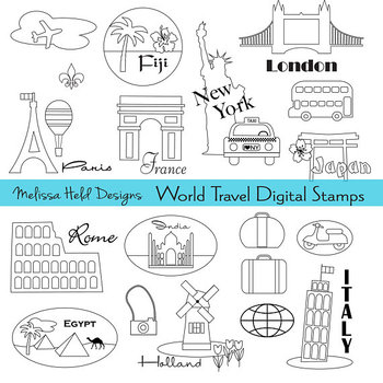 Clipart: World Travel Color Your Own Clipart