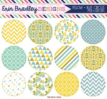Clipart - Yellow and Blue Circles Digital Frames Graphics