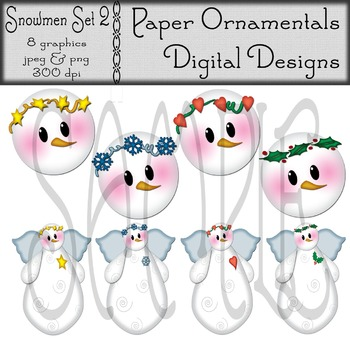 Clip Art or Clipart:  Snowmen Set 2