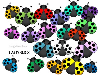 Clipart_ Colorful Ladybugs