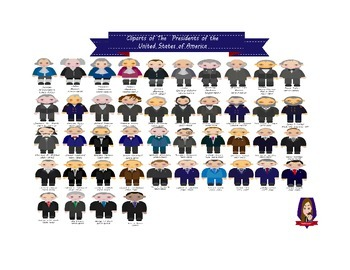 Modified Lessons Clipart of the 44 Presidents of the Unite