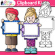 Clipboard Kids Clip Art {Great for Back to School, Posters