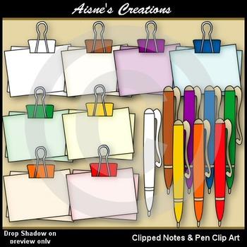 Clipped Notes & Pen Clip art Graphics