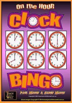 Clock Bingo - (Time Bingo) On the HOUR - 32 Cards