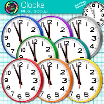 Rainbow Clock Clip Art {Free Measurement Tool Graphics for