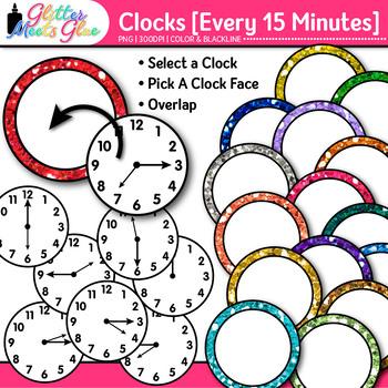 Clock Clip Art Every 15 Minutes {Measurement Tools for Tel