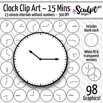 Clock Clip Art ~ Every 15 Minutes ~ No Numbers