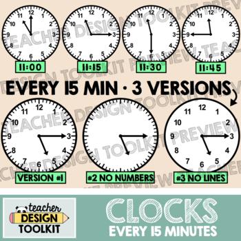 Clocks Clip Art: Every 15 Minutes