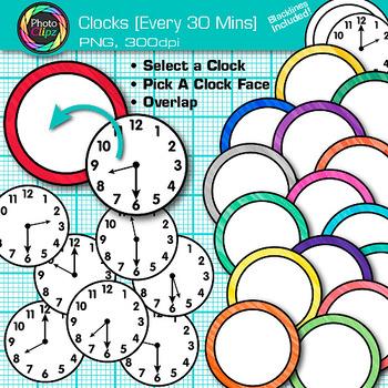 Clock Clip Art Every 30 Minutes {Measurement Tools for Tel