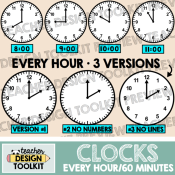 Clocks Clip Art: Every Hour / 60 Minutes