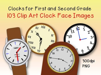 Clock Clip Art (for First and Second Grade) - CCSS