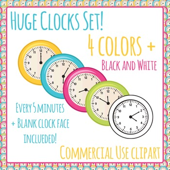 Clock Clipart - 726 images - 5 Colors, Every 5 Minutes - C