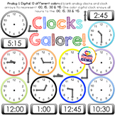 Clock Clipart - Analog, Digital, Clock Parts, :00, :15, :3
