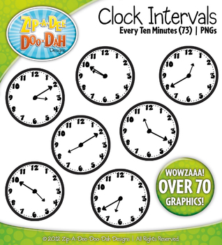 Clock Face Intervals Clip Art — Every 10 Minutes / Over 70