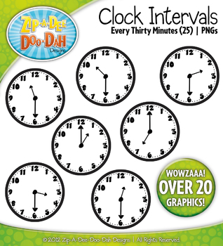 Clock Face Intervals Clip Art — Every 30 Minutes / Over 20