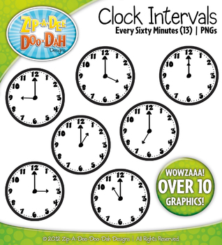 Clock Face Intervals Clip Art — Every 60 Minutes or Hour /