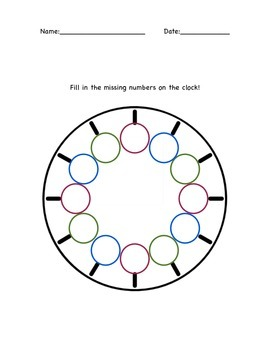 Clock Features, Telling Time Assessment