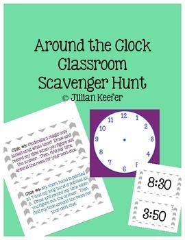 "Clock Games: ""Around the Clock"" Classroom Scavenger Hunt"