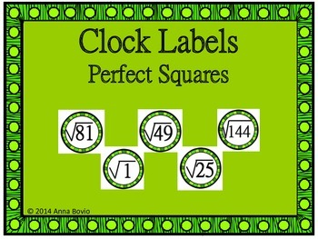 Clock Labels Perfect Squares/Square Roots