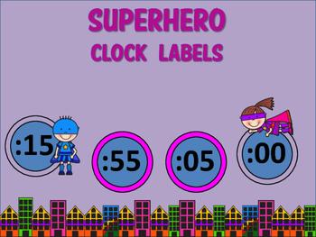 Clock Labels (Superhero Theme)
