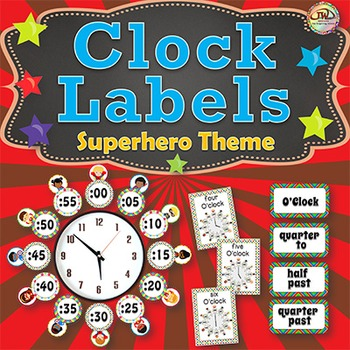 Clock Labels - Superhero Themed