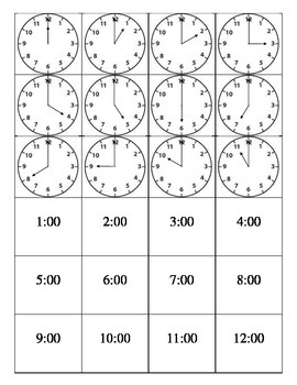 Clock Matching Game - Digital and Analog Time Hour - Print & Cut