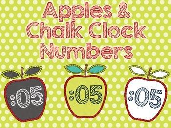 Chalkboard Apples Clock Numbers