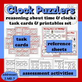 Clock Puzzlers reasoning about clocks and time task cards