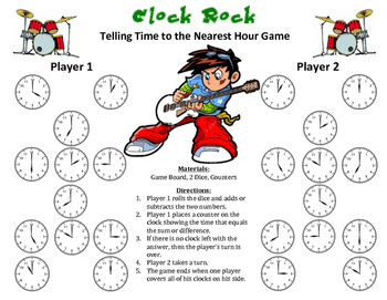 Clock Rock - A 2-Player Game to Practice Telling Time to t