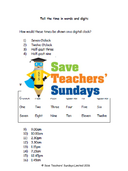 Digital time lesson plans, worksheets and more