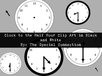 Clock to the Half Hour Clip Art: Black and White