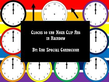 Clock to the Hour Clip Art: Rainbow