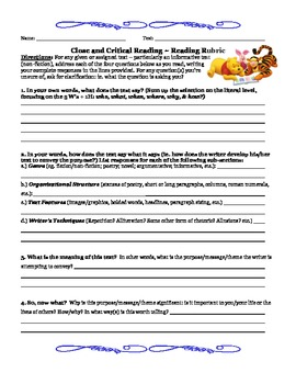 Close & Critical Common Core Reading Strategy~All Subjects