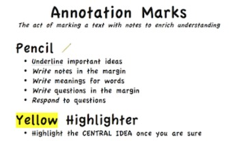 Close Read Annotation Marks Chart