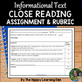 Close Read Assignment & Rubric (Informational Text)