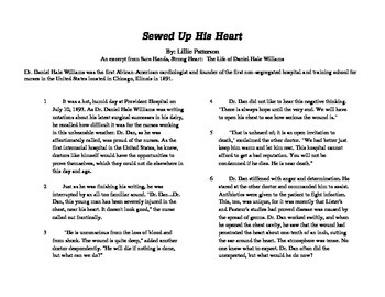 """Close Read Common Core Aligned """"Sewed Up His Heart"""" Lesson"""