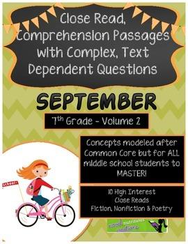 September 7th(V.2) Common Core Close Read Passages Text De