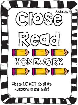 Close Read Homework: Comparing Texts  RL3.9