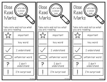 Close Read Markings Bookmark Freebie