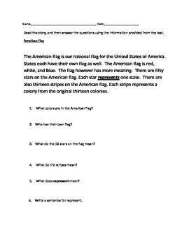 Close Read on The American Flag  - Short, Simple, with WH
