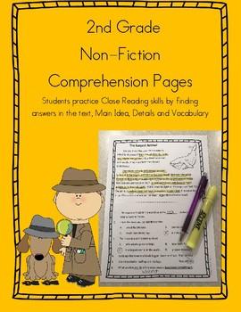 Close Reading 2nd Grade Non Fiction Comprehension Passages