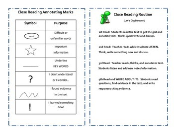 Close Reading Trifold for Fiction or Non-fiction: Guide Included
