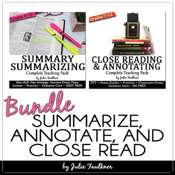 Reading Comprehension BUNDLE:Close Reading, Annotating, an