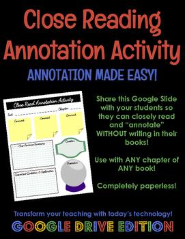 Close Reading Annotation Activity GOOGLE DRIVE EDITION - U