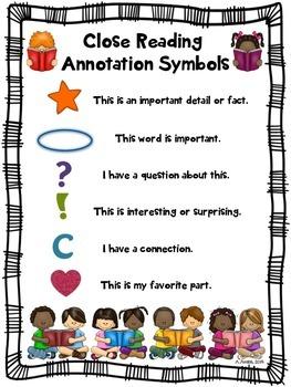Close Reading Symbols Poster Chart, Winter, Valentine's Da