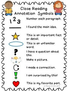 Close Reading Annotation Symbols Chart